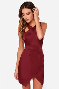 Style Stalker Lean on Me Burgundy Dress at LuLus.com! #HelzbergDiamonds #AisleStyle #Entry