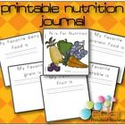 A printable journal that includes 5 pages, one for each food group. It provides a line to write each of their favorite foods from each food group and space for drawing a picture. It also has a colored picture cover. This will be great for my Nutrition/Food Theme!