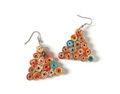 Triangle Earrings Multicolor Cheerful Recycled Paper Eco Friendly Beaded Orange Blue