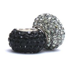 Set of 2 - Bella Fascini Black & Silver Gray Crystal Pave Sparkle Bling - Special Team Color Mix - Solid .925 Sterling Silver Core European Charm Bead Made with Authentic Swarovski Crystals - Compatible Brand Bracelets : Authentic Pandora, Chamilia, Moress, Troll, Ohm, Zable, Biagi, Kay's Charmed Memories, Kohl's, Persona & more! Bella Fascini Beads,http://www.amazon.com/dp/B00F4KK8JY/ref=cm_sw_r_pi_dp_PL7Osb1BVV91NC5A