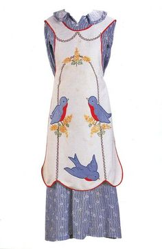 "Vintage house dress and applique apron with bluebirds, from ""Aprons-Icons of the American Home,"" by Joyce Cheney. Shared by Amy at Angry Chicken. Retro Apron, Aprons Vintage, Vintage Sewing, Vintage Clothing, Vintage Outfits, Vintage Fashion, Angry Chicken, Cute Aprons, Sewing Aprons"