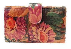 Genuine Argentinian Leather Floral Clutch Wallet. Smart design with multiple compartments, pockets, zipper pockets, credit card slots, id window & coin holder to keep you organized. 100% Beautifully patterned cowhide leather in our very special floral print. Crafted by the skilled hands of Argentine leathermen by 'old world' traditional methods. Clutch style for a 'grab & go' kind of gal. Great for Travel !.