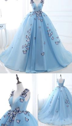 Long Blue Wedding Dresses With Applique Lace Up Sweep Train Comely Wedding Dresses by DestinyDress, $225.00 USD