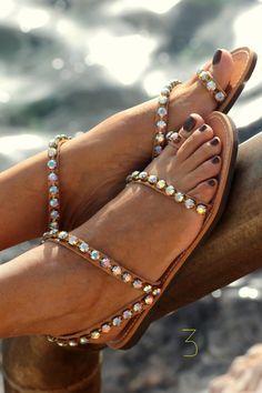 Sandals decorated with Original Swarovski от ElinaLinardaki