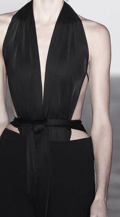 Sleek black halter neck top; chic fashion details // Gareth Pugh Spring 2016