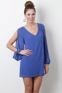 Slit sleeves and v-neck cobalt blue dress. Perfect for date night!