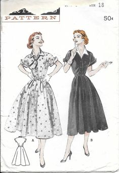 Butterick 6769 1950s Wing Collared Cuffed Sleeve Casual Dress