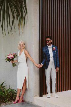 Amara & Ruben's Tropical Luxe Wedding at Arnalaya Beach House in Bali, Tea Length Wedding Dress, Gown Wedding, Courthouse Wedding Dress, Civil Wedding Dresses, Luxe Wedding, Nautical Wedding, Casual Wedding, Diy Wedding, Wedding Favors