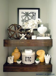 Styled shelves - Painted Powder Room | Desert Domicile