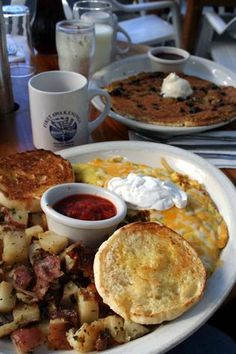 First Awakenings in Monterey, CA. Best breakfast in town. I can never leave without at least splitting an All That Razz pancake in addition to an omelet or crepe. Come hungry, the portions are large and it is hard to stop eating because the food is so good.