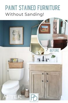 Learn how to paint stained cabinets and furniture WITHOUT SANDING OR STRIPPING! | Porch Daydreamer