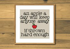 Funny cross stitch pattern, apples, instant download