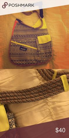 KAVU CROSSBODY!! Neon pink and green with blue design. Slight wear and tear! Great bag for all uses 👍🏼💙 Kavu Bags Crossbody Bags