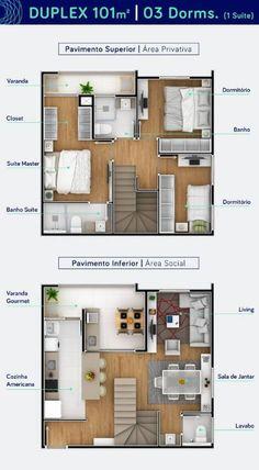 Planta de casa duplex com três dormitórios Foto de Biay Tiny House Layout, House Layout Plans, Duplex House Plans, Small House Design, Dream House Plans, Small House Plans, House Layouts, Modern House Design, House Floor Plans