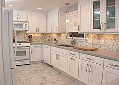 White Kitchen Backsplash Tile 43 | white shaker cabinets, shaker cabinets and cabinet lighting
