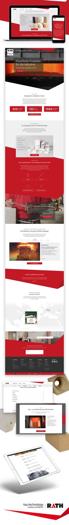 Konzeption, Design und Programmierung der neuen Corporate Website des B2B Feuerfestlösung Anbieters RATH. Corporate, Website Designs, Design Websites, Website Layout, Web Design, Design Web
