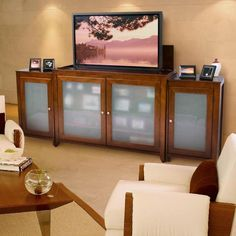 cherry with crotch black walnut panels and amber art glasspop up tvstereo cabinet tv cabinet pinterest stereo cabinet cherries and glass