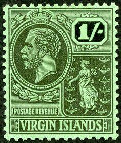 "British Virgin Islands  1922 Scott 50 1/- black/emerald ""Colony Seal""; Wmk 3"