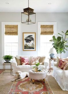 Classic living room with brass lantern