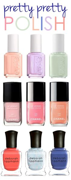 love the colors!    Essie: A Crewed Interest | To Buy or Not to Buy | Absolutely Shore Chanel: 535 May | 167 Ballerina | 539 June Deborah Lippmann: Girls Just Wanna Have Fun | Glitter in the Air (sheer) | I Know What Boys Like