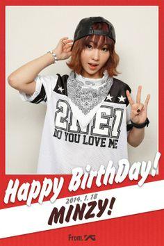 YG Entertainment wishes Minzy a happy birthday! 20th Birthday, Happy Birthday, Yg Life, 2ne1 Minzy, Running Man, Going Crazy, Yg Entertainment, Bigbang, Wish