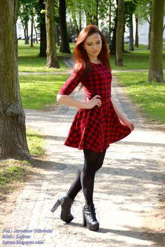 Leyraa Blog: 14.05.17 Sukienka w czerwono-czarną kratkę, czarne...