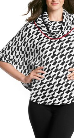 A cowlneck houndstooth poncho works great for those cool days in the office.  Throw over your ponte pants or pencil skirt + pair with wedge booties!