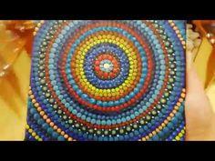 Glow-in-the-dark mandala painting Mandala Canvas, Mandala Painting, The Darkest, Glow, Dots, Tapestry, Make It Yourself, Stitches, Hanging Tapestry