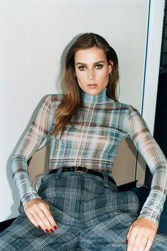 Acne Sudios Hermès and Repossi Fall 2018 SelfService Magazine Tartan Fashion, Self Service, Amazing Women, Blue Dresses, Hermes, Trousers, Turtle Neck, Plaid, Couture