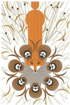 """""""Quailsafe"""" by Charley Harper, from my calendar.  I get to stare at this for the whole month of June."""