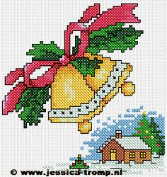 Cross Stitch Christmas Cards, Xmas Cross Stitch, Cross Stitching, Cross Stitch Embroidery, Cross Stitch Patterns, Christmas Tree Pattern, Christmas Bells, Christmas Cross, Diy Christmas Gifts