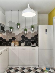 Дизайн-проект кухни, плитка соты