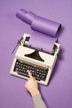 art direction typewriter purple still life photography - Studio - Février