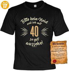 Geburtstag T-Shirt 40 Bitte kein Neid weil ich so gut aussehe mit Geburtstags-Urkunde (*Partner-Link)