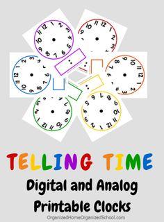 FREE Clock Printables and Telling Time Lesson Tips - Kids Clocks - Ideas of Kids Clocks Teaching Clock, Teaching Time, Teaching Math, Teaching Spanish, Math Classroom, Kindergarten Math, Preschool, Math Resources, Math Activities