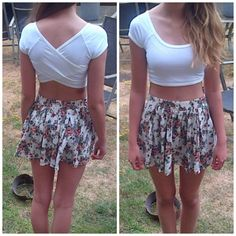 Crop tops and high waisted shorts, love this Trent, a great way to show off that bod you've been working so hard to get