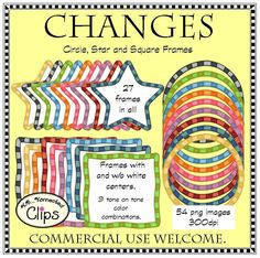 Changes - Circle, Star, and Square Striped Frames  $ http://www.teacherspayteachers.com/Product/Changes-Circle-Star-and-Square-Striped-Frames-clip-art-1344621