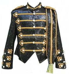 Michael Jackson Military Jacket Black Sequin with Gold Style