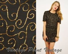 Vintage 90's Sequin / Beaded Trophy Dress Medium by shopVPV, $54.00