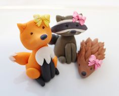 Fondant edible Woodland 4 qty fox - racoon - porcipine - deer - 3 mushrooms