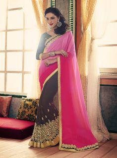 Party-wear-coffee-pink-color-saree