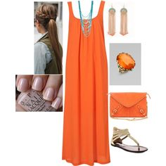Love the orange dress, turquoise jewelry + nails & sandals...awww, summer!