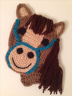 Crochet horse appliqué ~ PURCHASED item - this is a finished product to purchase Appliques Au Crochet, Crochet Applique Patterns Free, Crochet Motif, Crochet Flowers, Crochet Teddy, Cute Crochet, Easy Crochet, Crochet Baby, Crochet Horse