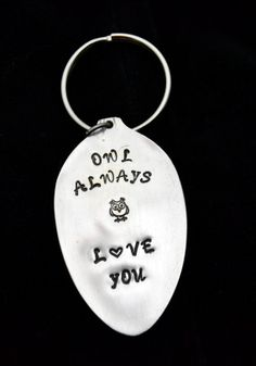 Stamped Spoon Spoon Key Chain Owl Key Ring by TheSilverwearShop, $11.00