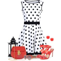 Polka dot dress black and white... very cute for #spring or #summer #love with red clutch and handbag