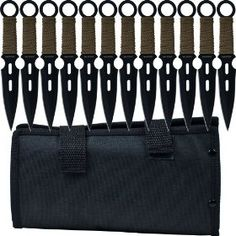 Whetstone Cutlery's S-Force Kunai 12 per set Throwing knives, Black/Green, (throwing knives, throwing knife, kunai, knife, weapons, ninja, knife throwing, self defense, knife set, rough rider)