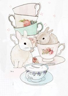 i found the original source of this cute bunny illustration! Bunnies and tea