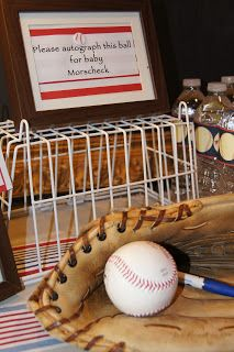 Excellent idea for a Baseball Themed Baby Shower.  If I ever have a child (boy) then I'll do this for sure!