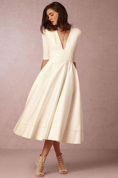 White Half Sleeve V-Neck Fit-Flare Dress
