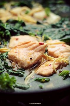 Oriental Fish soup (Salmon and cod) with noodles and spinach